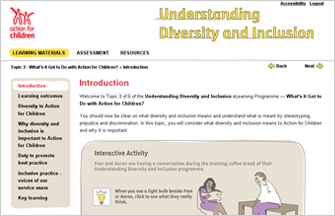 Screenshot from Action for Children Diversity and Inclusion e-learning programme