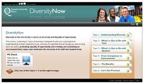Screen shot from Diversity Now e-learning programme