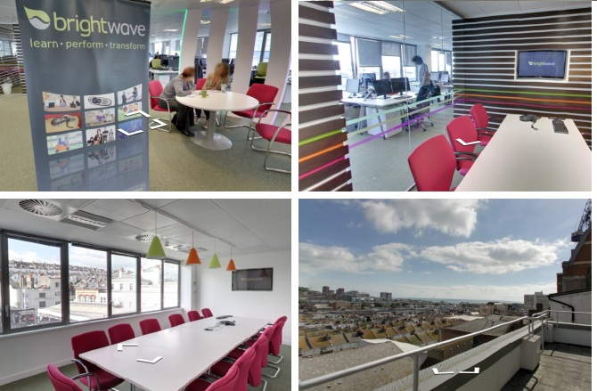 Above: Interactive photos of the Brightwave office via Google.