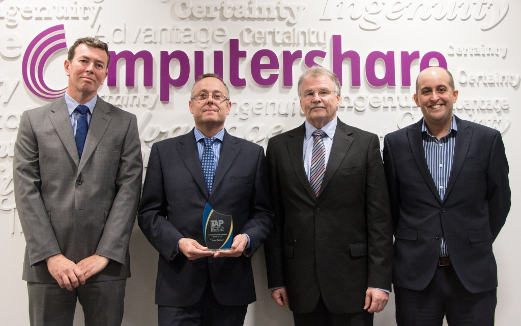 Computershare presented with TAP Gold Partner trophy for ...