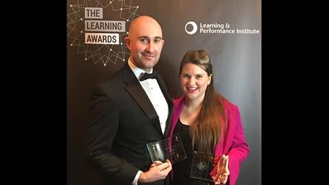 L to R: Virtual College's award winners  John Hinchliffe and Hayley Khan