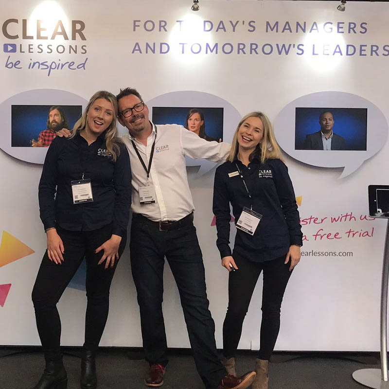 Martin Baker (centre) with Rosie Haighton (R) and Katie Madeley (L) will be showcasing Clear Lessons videos at the Learning Technologies Summer Forum