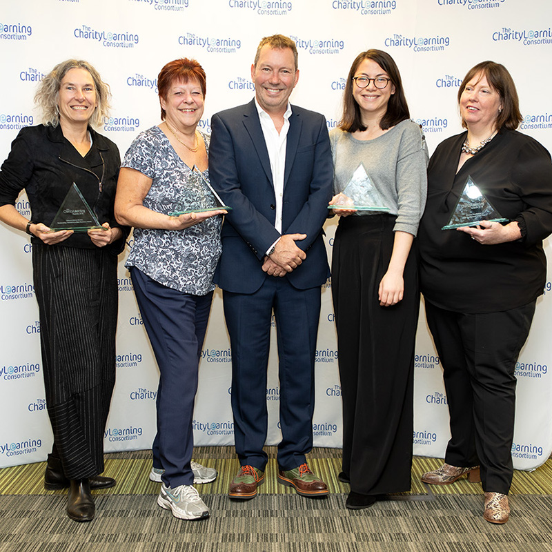 Thrilled with their awards, pictured L to R are Tina Davis, Doreen Miller, Martin Baker, Lou Guy and Eleanor MacKenzie