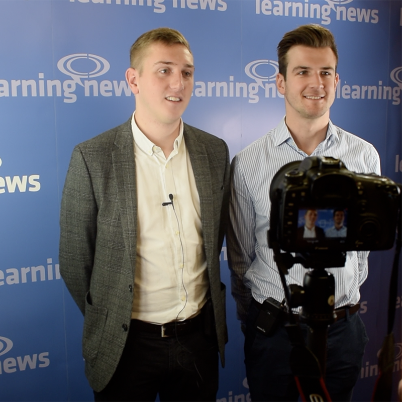 Tom Beale and Will Towse, Thrive Learning, talking with Learning News at World of Learning 2018