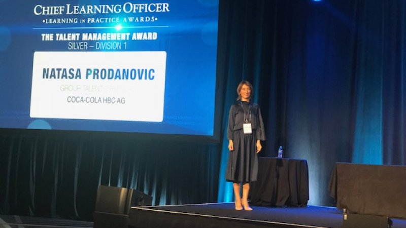 Natasa Prodanovic, Group Talent Director, Coca-Cola HBC, receiving her Talent Management Award