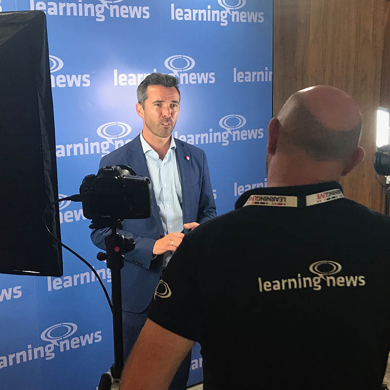 Rob Clarke of Learning News with Ed Monk of the LPI at LEARNINGLIVE 2018 in London