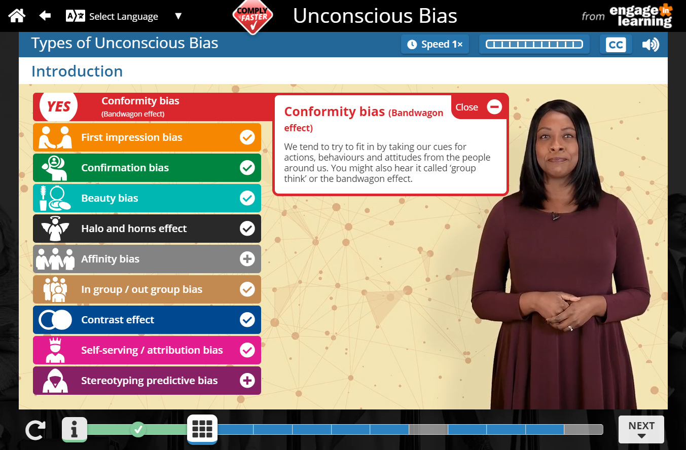A scene from one of Engage in Learning's Unconscious Bias e-learning programmes.