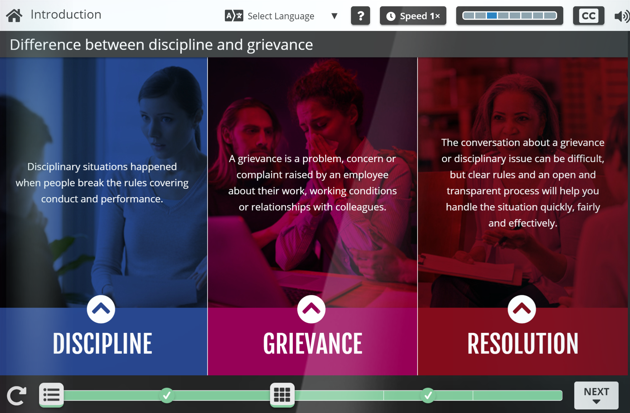A screen grab from the Discipline and Grievance programme.