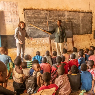 Genny Dixon, pictured visiting Msalabani School in Malawi, joins Learn Appeal's Board of Trustees