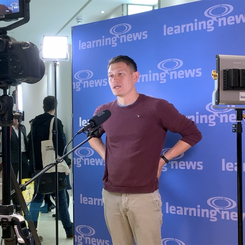 Learning News talking to Mark Zao-Sanders, CEO of Filtered, at the start of LEARNING LIVE 2019