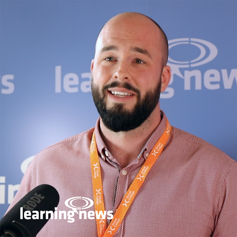 Daniel Nolan, Partnership Manager, Virtual College, talking to Learning News at LEARNINGLIVE 2019