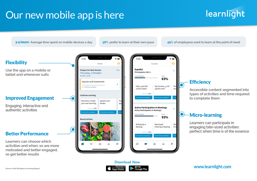 New Learnlight App functionality