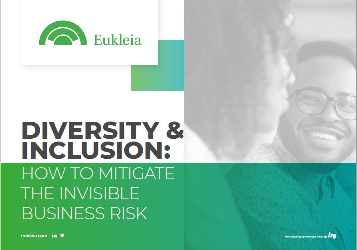 The cover of Eukleia's expert-authored ebook, 'Diversity  Inclusion: How to mitigate the invisible business risk'